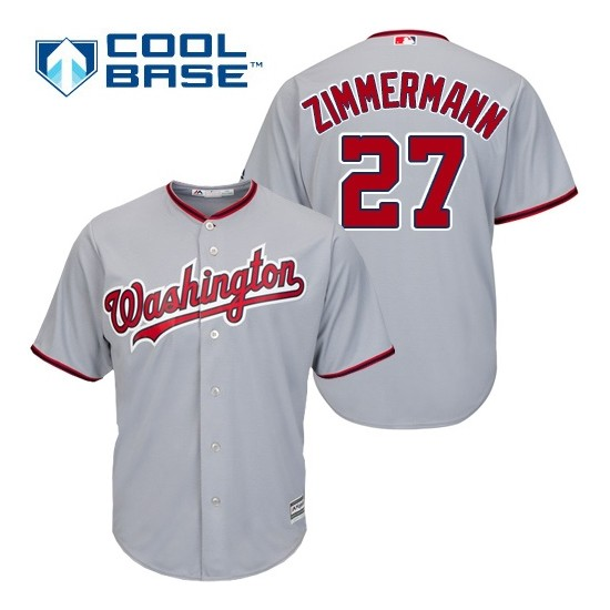 Men's Majestic Washington Nationals 27 Jordan Zimmermann Authentic Grey Road Cool Base MLB Jersey