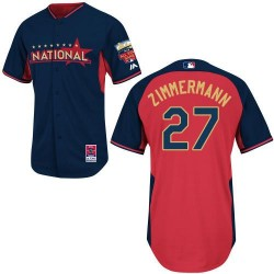 Men's Majestic Washington Nationals 27 Jordan Zimmermann Authentic Navy/Red National League 2014 All-Star BP MLB Jersey