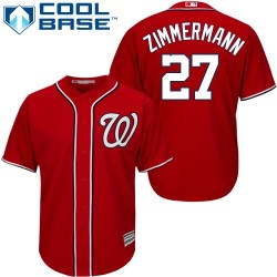 Men's Majestic Washington Nationals 27 Jordan Zimmermann Authentic Red Alternate 1 Cool Base MLB Jersey