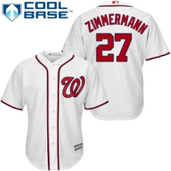Men's Majestic Washington Nationals 27 Jordan Zimmermann Authentic White Home Cool Base MLB Jersey