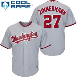 Men's Majestic Washington Nationals 27 Jordan Zimmermann Replica Grey Road Cool Base MLB Jersey