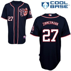 Men's Majestic Washington Nationals 27 Jordan Zimmermann Replica Navy Blue Alternate 2 Cool Base MLB Jersey