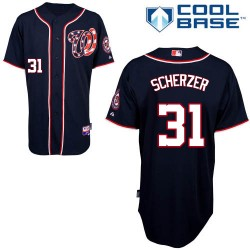 Men's Majestic Washington Nationals 31 Max Scherzer Replica Navy Blue Alternate 2 Cool Base MLB Jersey