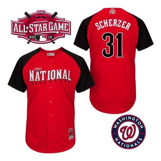 Men's Majestic Washington Nationals 31 Max Scherzer Replica Red 2015 All-Star National League BP MLB Jersey
