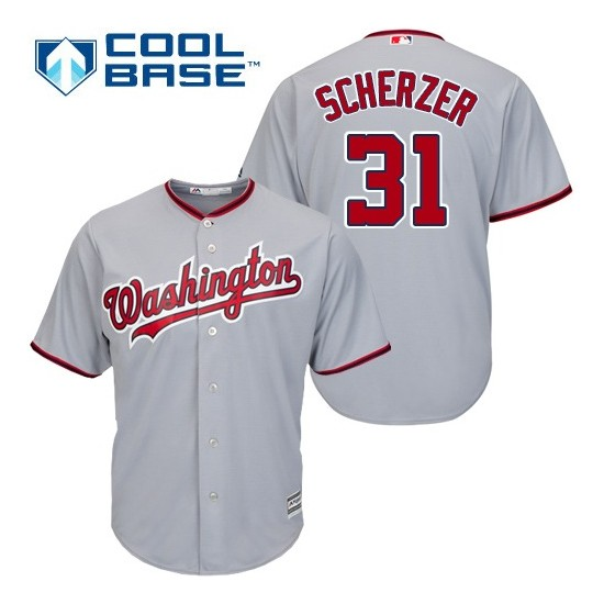 Youth Majestic Washington Nationals 31 Max Scherzer Authentic Grey Road Cool Base MLB Jersey