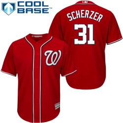 Youth Majestic Washington Nationals 31 Max Scherzer Authentic Red Alternate 1 Cool Base MLB Jersey