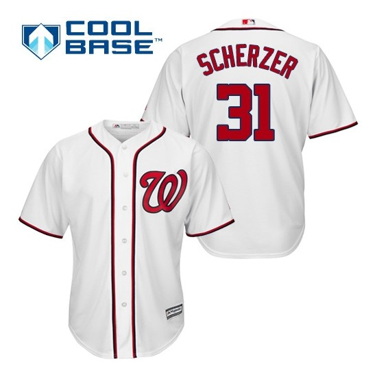 Youth Majestic Washington Nationals 31 Max Scherzer Authentic White Home Cool Base MLB Jersey