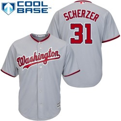 Youth Majestic Washington Nationals 31 Max Scherzer Replica Grey Road Cool Base MLB Jersey