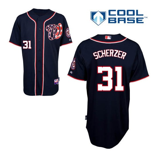 Youth Majestic Washington Nationals 31 Max Scherzer Replica Navy Blue Alternate 2 Cool Base MLB Jersey