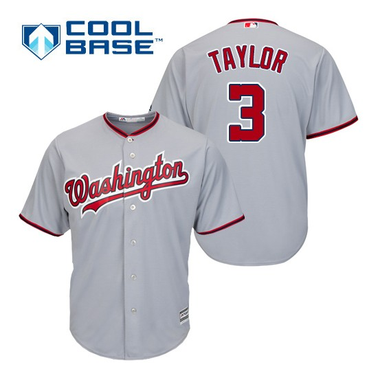 Men's Majestic Washington Nationals 3 Michael Taylor Authentic Grey Road Cool Base MLB Jersey