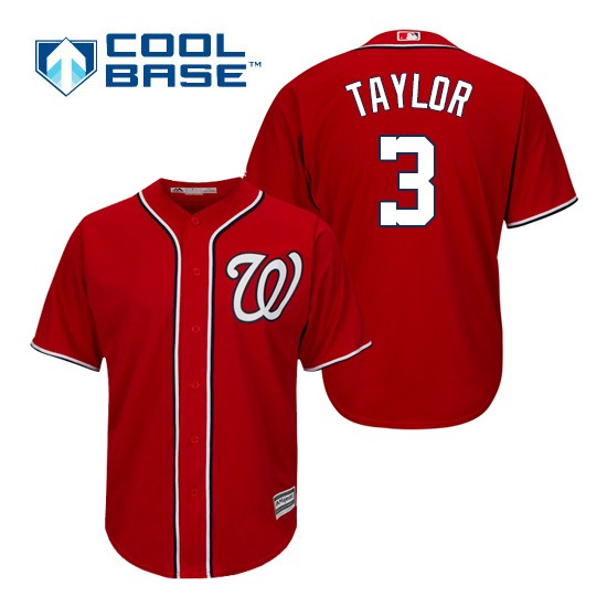 Men's Majestic Washington Nationals 3 Michael Taylor Authentic Red Alternate 1 Cool Base MLB Jersey