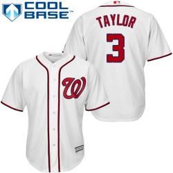 Men's Majestic Washington Nationals 3 Michael Taylor Authentic White Home Cool Base MLB Jersey