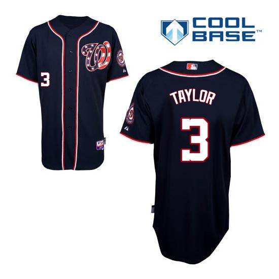 Men's Majestic Washington Nationals 3 Michael Taylor Replica Navy Blue Alternate 2 Cool Base MLB Jersey