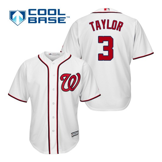 Men's Majestic Washington Nationals 3 Michael Taylor Replica White Home Cool Base MLB Jersey