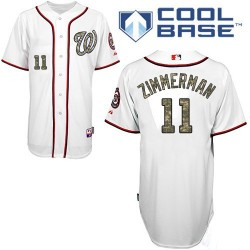 Men's Majestic Washington Nationals 11 Ryan Zimmerman Authentic White USMC Cool Base MLB Jersey