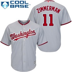 Men's Majestic Washington Nationals 11 Ryan Zimmerman Replica Grey Road Cool Base MLB Jersey