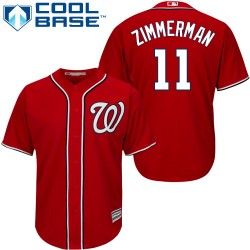 Men's Majestic Washington Nationals 11 Ryan Zimmerman Replica Red Alternate 1 Cool Base MLB Jersey