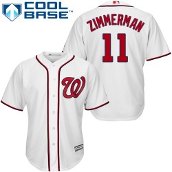 Men's Majestic Washington Nationals 11 Ryan Zimmerman Replica White Home Cool Base MLB Jersey