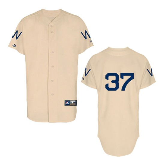 Men's Majestic Washington Nationals 37 Stephen Strasburg Authentic Cream 1924 Turn Back The Clock MLB Jersey