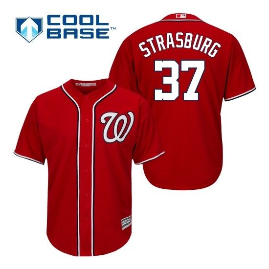 Men's Majestic Washington Nationals 37 Stephen Strasburg Authentic Red Alternate 1 Cool Base MLB Jersey