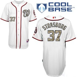 Men's Majestic Washington Nationals 37 Stephen Strasburg Authentic White USMC Cool Base MLB Jersey
