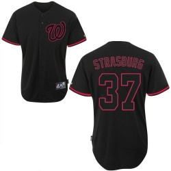 Men's Majestic Washington Nationals 37 Stephen Strasburg Replica Black Fashion MLB Jersey