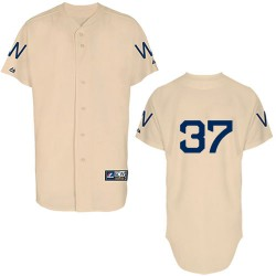 Men's Majestic Washington Nationals 37 Stephen Strasburg Replica Cream 1924 Turn Back The Clock MLB Jersey