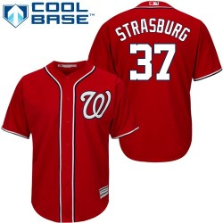 Men's Majestic Washington Nationals 37 Stephen Strasburg Replica Red Alternate 1 Cool Base MLB Jersey