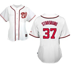 Women's Majestic Washington Nationals 37 Stephen Strasburg Replica White MLB Jersey