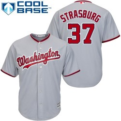 Youth Majestic Washington Nationals 37 Stephen Strasburg Replica Grey Road Cool Base MLB Jersey