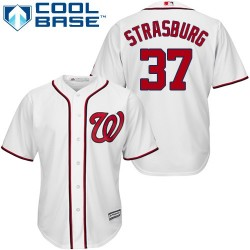 Youth Majestic Washington Nationals 37 Stephen Strasburg Replica White Home Cool Base MLB Jersey