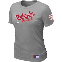 MLB Women's Washington Nationals Nike Practice T-Shirt - Grey