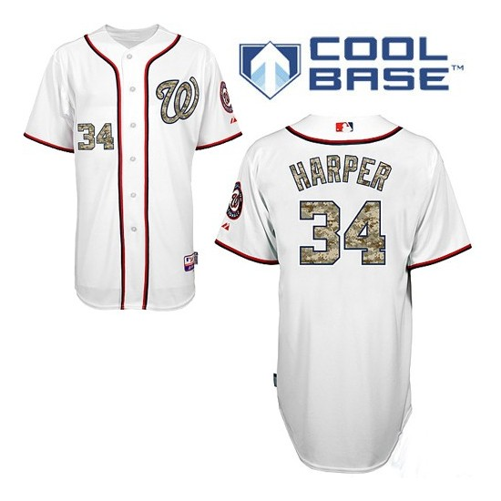 Men's Majestic Washington Nationals 34 Bryce Harper Authentic White USMC Cool Base MLB Jersey