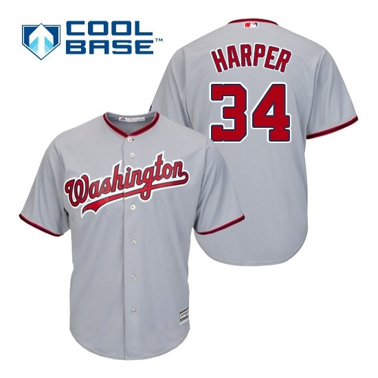 Men's Majestic Washington Nationals 34 Bryce Harper Replica Grey Road Cool Base MLB Jersey