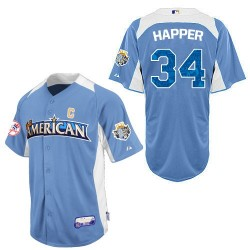 Men's Majestic Washington Nationals 34 Bryce Harper Replica Light Blue American League 2012 All-Star BP MLB Jersey