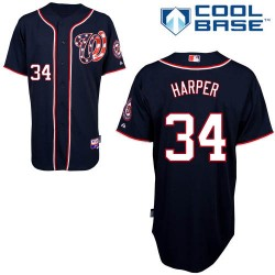 Men's Majestic Washington Nationals 34 Bryce Harper Replica Navy Blue Alternate 2 Cool Base MLB Jersey