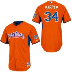 Men's Majestic Washington Nationals 34 Bryce Harper Replica Orange National League 2013 All-Star BP MLB Jersey