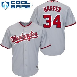 Youth Majestic Washington Nationals 34 Bryce Harper Authentic Grey Road Cool Base MLB Jersey