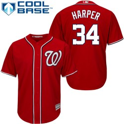 Youth Majestic Washington Nationals 34 Bryce Harper Authentic Red Alternate 1 Cool Base MLB Jersey
