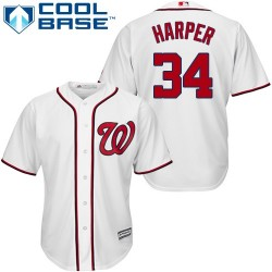 Youth Majestic Washington Nationals 34 Bryce Harper Authentic White Home Cool Base MLB Jersey