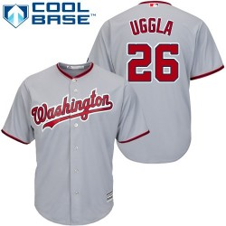 Men's Majestic Washington Nationals 26 Dan Uggla Authentic Grey Road Cool Base MLB Jersey