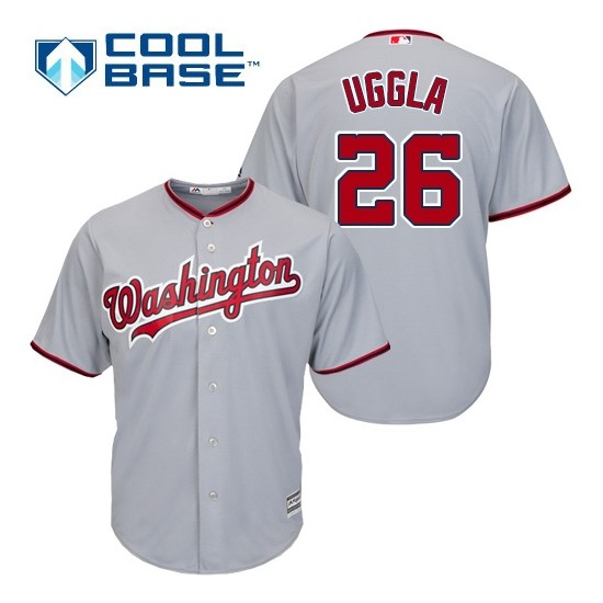 Men's Majestic Washington Nationals 26 Dan Uggla Replica Grey Road Cool Base MLB Jersey