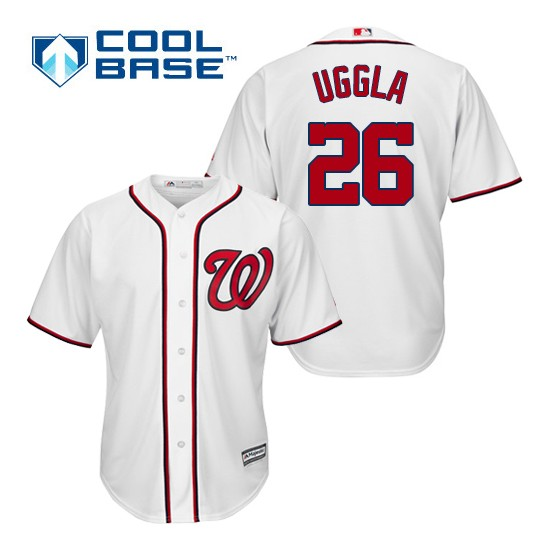 Men's Majestic Washington Nationals 26 Dan Uggla Replica White Home Cool Base MLB Jersey