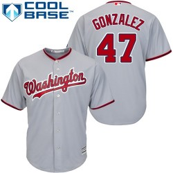 Men's Majestic Washington Nationals 47 Gio Gonzalez Replica Grey Road Cool Base MLB Jersey