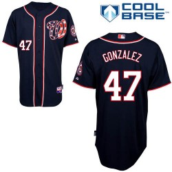 Men's Majestic Washington Nationals 47 Gio Gonzalez Replica Navy Blue Alternate 2 Cool Base MLB Jersey