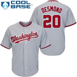Men's Majestic Washington Nationals 20 Ian Desmond Authentic Grey Road Cool Base MLB Jersey
