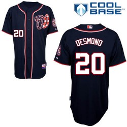 Men's Majestic Washington Nationals 20 Ian Desmond Authentic Navy Blue Alternate 2 Cool Base MLB Jersey