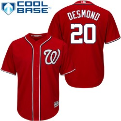 Men's Majestic Washington Nationals 20 Ian Desmond Authentic Red Alternate 1 Cool Base MLB Jersey