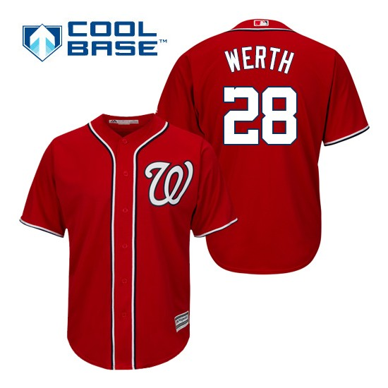 Men's Majestic Washington Nationals 28 Jayson Werth Replica Red Alternate 1 Cool Base MLB Jersey