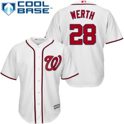 Men's Majestic Washington Nationals 28 Jayson Werth Replica White Home Cool Base MLB Jersey